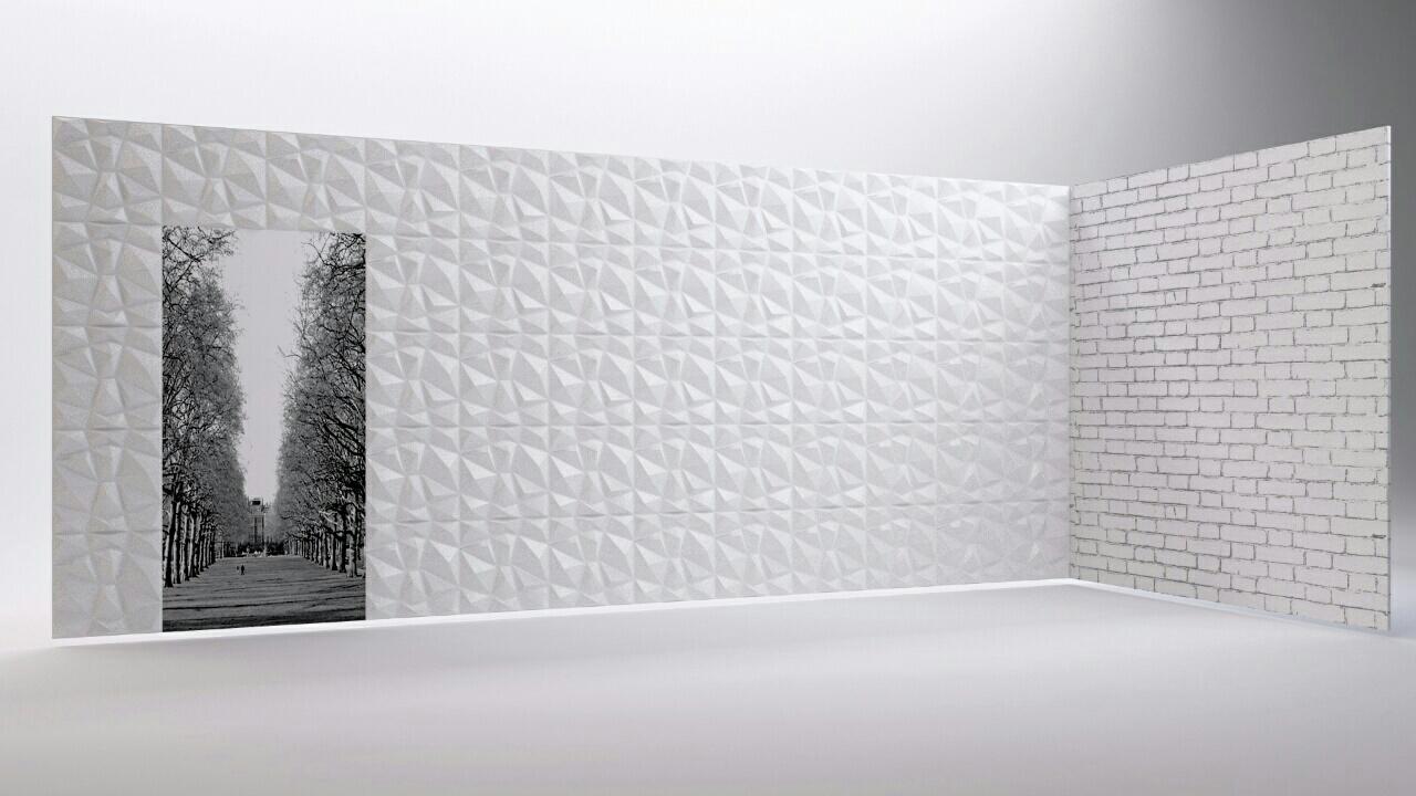 Τεχνοτροπία 3D σε τοίχο χρώματος άσπρου πολύγωνο. c9c747ce793